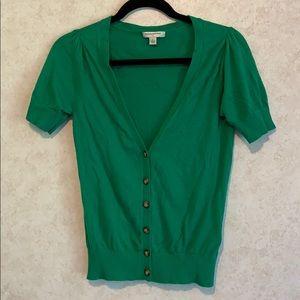 Banana Republic short sleeve button sweater green